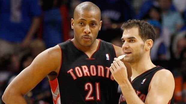 Jamaal Magloire, seen with Jose Calderon during a game in April, will provide depth to the Toronto Raptors roster once again.