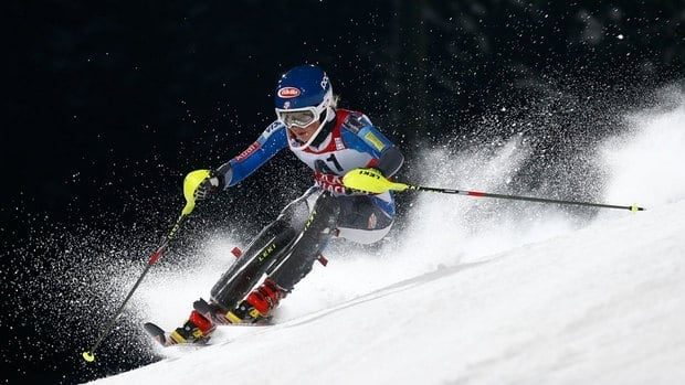Mikaela Shiffrin passes a gate during the first run of the World Cup night slalom race Tuesday in Flachau.