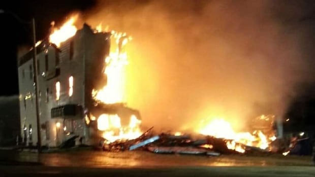 The Flying Goose in Lafleche was engulfed in flames Tuesday night.
