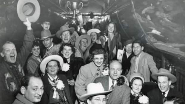 The group on the Grey Cup train in 1948 after the Calgary Stampeders won 12-7 over the Ottawa Rough Riders in Ottawa on Nov. 27, 1948.