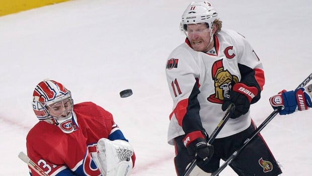 Montreal Canadiens' goaltender Carey Price, left, will be hoping his club can take down Daniel Alfredsson, right, and the Ottawa Senators beginning Thursday night.