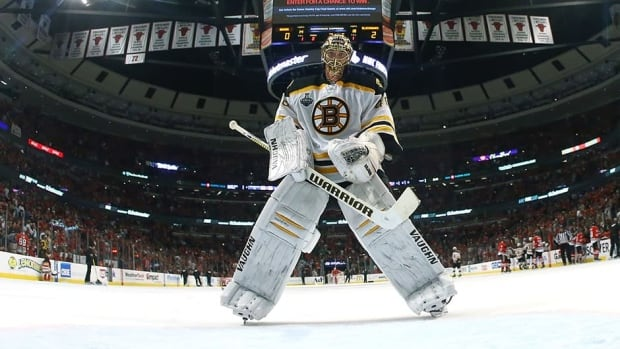 Bruins goalie Tuukka Rask, seen here skating back to the net during a timeout in the Stanley Cup Final at United Center, posted a 1.88 GAA and a .940 save percentage in 22 playoff games for Boston. The Bruins locked up their starting netminder on Wednesday.