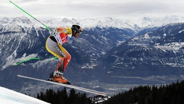 Canada's Jan Hudec speeds down the course during the men's World Cup Super-G race on the Piste Nationale in Crans-Montana, Switzerland, Saturday, Feb. 25, 2012.