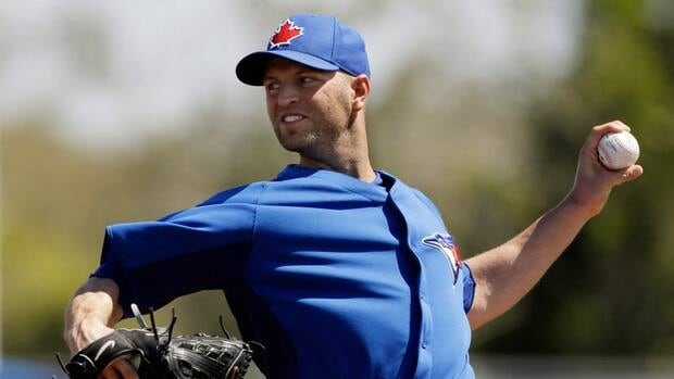 Toronto Blue Jays starting pitcher J.A. Happ during a spring training baseball game against the Baltimore Orioles, Saturday, March 16, 2013, in Dunedin, Fla.