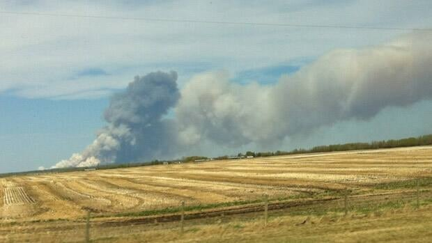 RCMP have closed down a section of Highway 63 and people are evacuating the area as a large wildfire burns near Grassland (Courtesy Emma Sanchez Dardon)