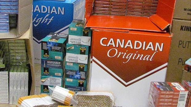 Allegedly illegal cigarettes the RCMP found in a storage locker in LaSalle, Ont., just southwest of Windsor.