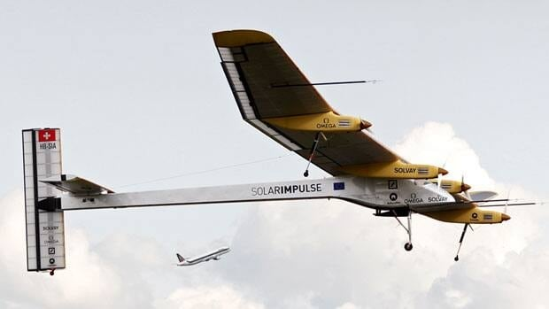 Solar Impulse uses energy collected from 12,000 solar cells in its wings that simultaneously recharge batteries for night use.