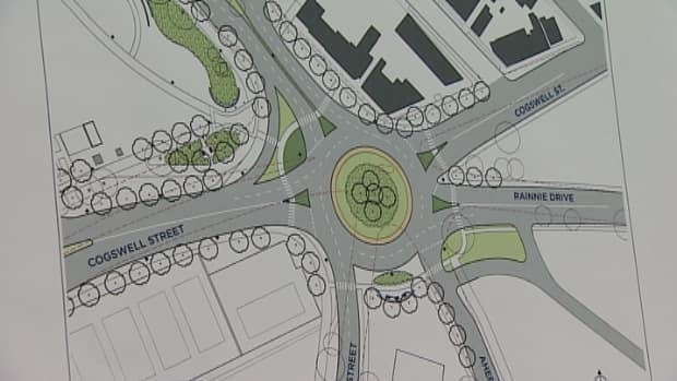 The design for the proposed roundabout at Rainnie Drive, Ahern Avenue, North Park, Cogswell and Trollope streets.