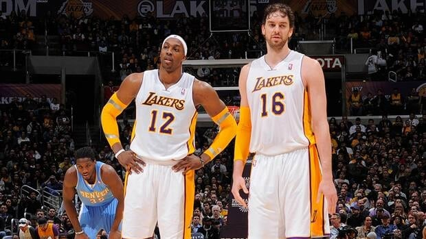 Los Angeles Lakers players Dwight Howard, left, and Pau Gasol will miss the team's upcoming road trip with significant injuries.
