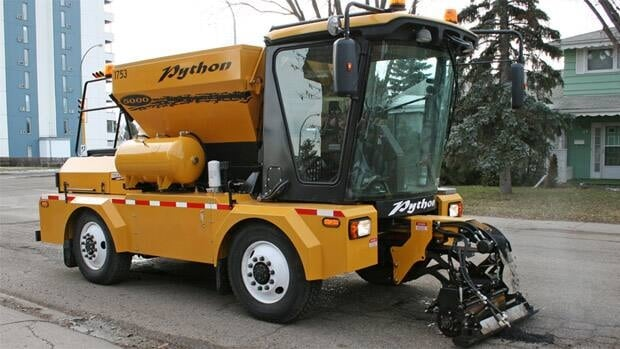 The Saskatchewan company that markets the Python 5000 says it fixes potholes within minutes and only needs to be operated by one person.