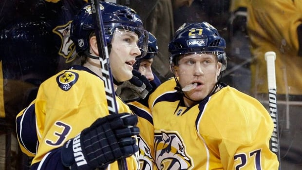 Nashville Predators centre Colin Wilson, left, and Patric Hornqvist have both been sidelined due to injuries.