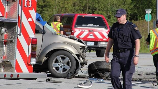 An SUV and a pickup truck collided on the Lougheed Highway east of 240th Street in Maple Ridge, police say.