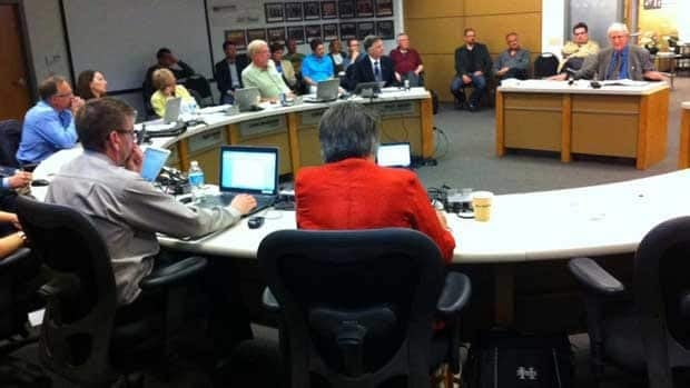 Trustees with the Hanover School Division meet in Steinbach on Tuesday evening.