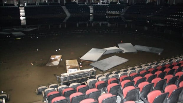 The inside of the Calgary Saddledome is shown in this undated handout photo provided by the Calgary Flames. The team says everything below the eighth row in the Saddledome is ruined by flooding.