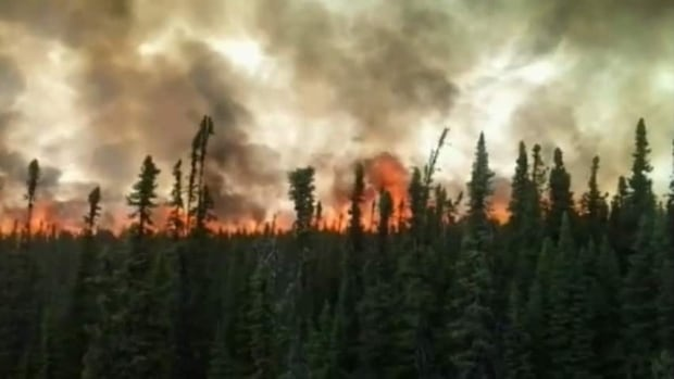 Maxime Duperré, traveling in a truck near Nemiscau, took this video of the fire burning over 25,000 hectares 40 kms. from the Cree community.