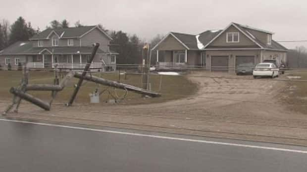 27 hydro poles snapped in the town of Wroxeter, northwest of Wellesley. Residents have been unable to leave their homes.