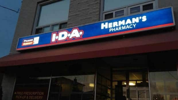 The exterior of Herman's Pharmacy in Sudbury, Ont., on May 1. Herman Reich, 43, of Herman's IDA Pharmacy was arrested on Wednesday following a complaint received in March 2011 regarding the theft of prescription drugs.