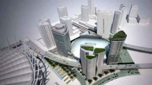 A computer-generated image shows a birds-eye view of the proposed development of three towers at Rogers Arena in Vancouver.