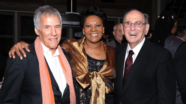 Hal David, right, poses with singer Dionne Warwick and his songwriting partner Burt Bacharach.