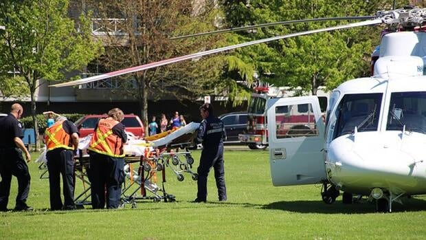 One person has been airlifted by helicopter to Royal Columbian Hospital with serious injuries.