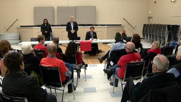 About 25 people turned out to hear from three of the five candidates running for the federal seat in Calgary Centre.