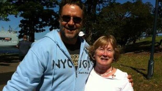 Academy Award winning actor Russell Crowe and St. John's art dealer Emma Butler in a park in Sydney, Australia.