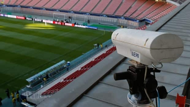 A Hawk-Eye camera is shown in a Tokyo stadium in December 2012 as part of a demonstration of the technology.