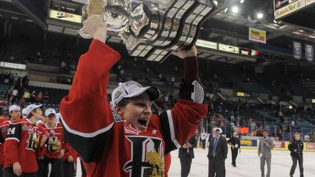 Nathan MacKinnon holds the Memorial Cup after the Mooseheads defeated the Portland Winterhawks in the finals.