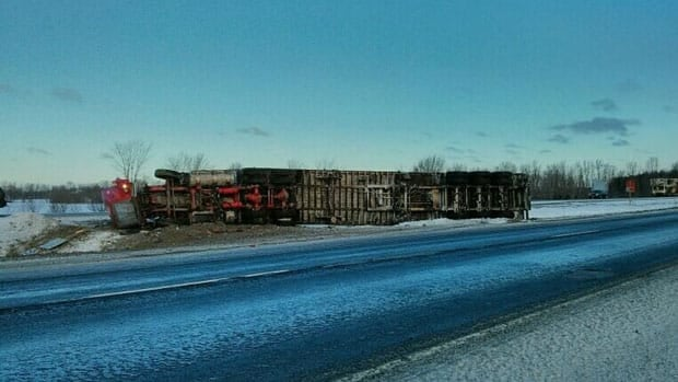 This overturned transport truck caused Highway 416 to be closed near Kemptville.