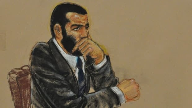 In this Pentagon-approved photograph of a sketch by artist Janet Hamlin, Omar Khadr listens to closing arguments Saturday, Oct. 30, 2010 in Guantanamo Bay, Cuba.