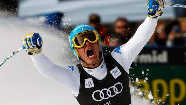 Christof Innerhofer of Italy, reacts after winning his first World Cup men's downhill in nearly four years. He clocked one minute 41.69 seconds to hold off Norway's Aksel Lund Svindal by 0.23 seconds.