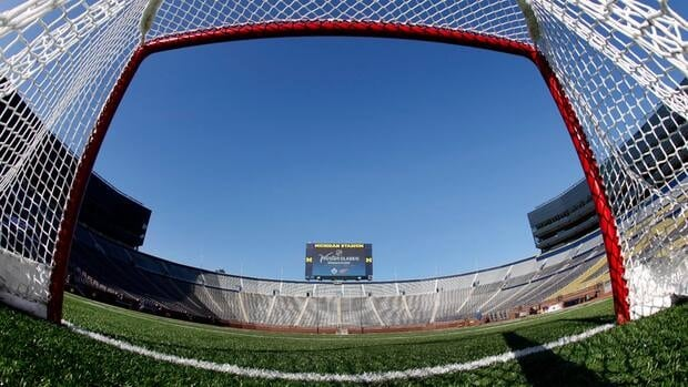 A view from inside a hockey net shows Michigan Stadium after the announcement of the NHL Winter Classic hockey game in Ann Arbor, Mich. on Feb. 9. The Toronto Maple Leafs are scheduled to play the Detroit Red Wings at Michigan Stadium on Jan. 1, 2013.