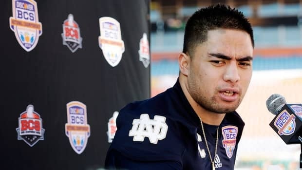 Notre Dame linebacker Manti Te'o answers a question during media day for the BCS national championship NCAA college football game in Miami earlier in January. Alabama won the game.