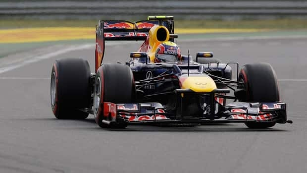 Red Bull driver Mark Webber stormed to pole on the last lap of qualifying of the Korean Grand Prix Saturday.