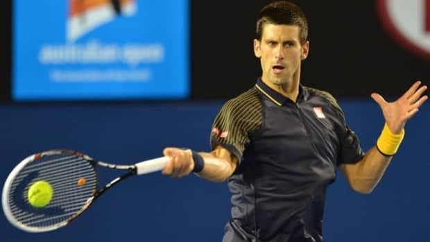 Novak Djokovic hits a forehand in a 6-1, 6-2, 6-3 victory over Ryan Harrison on Wednesday.