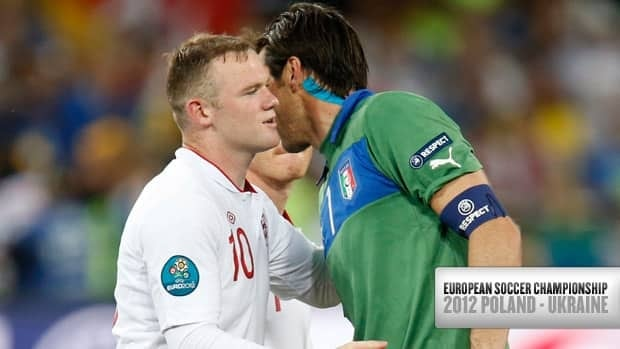 England's Wayne Rooney, left, congratulates Italy goalkeeper Gianluigi Buffon, right, after the Italians won their quarter-final matchup Sunday in Kiev.