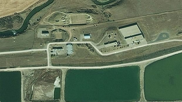 An aerial view of Regina's waste-water treatment facility.