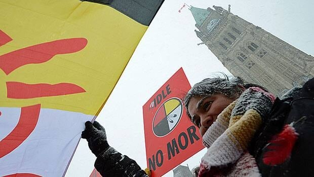 Neecha Dupuis of the Ojibwa Nation of Saugeen Indian Tribe 258 takes part in a rally during an 'Idle No More' gathering on Parliament Hill Monday as MPs returned to work following their winter break.
