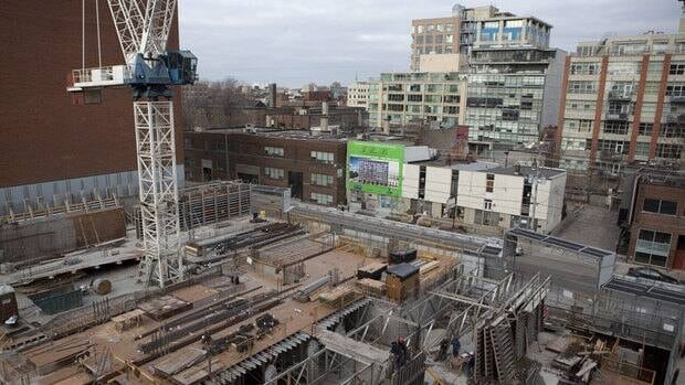 A condominium under construction in downtown Toronto. Many more projects were completed in the first quarter of 2013 than in previous years, which is partly what accounts for the large spike in the number of condo units leased.