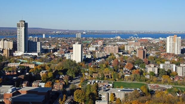 Hamilton's lower city, photographed from the Mountain, in October 2011.
