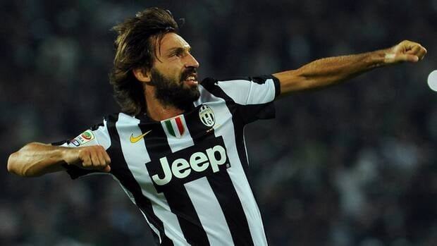 Juventus' Andrea Pirlo celebrates after scoring the opening goal during against Roma on Saturday.