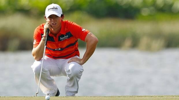 Rory McIlroy lines up a putt on the fifth hole during the third round of the Honda Classic at PGA National.
