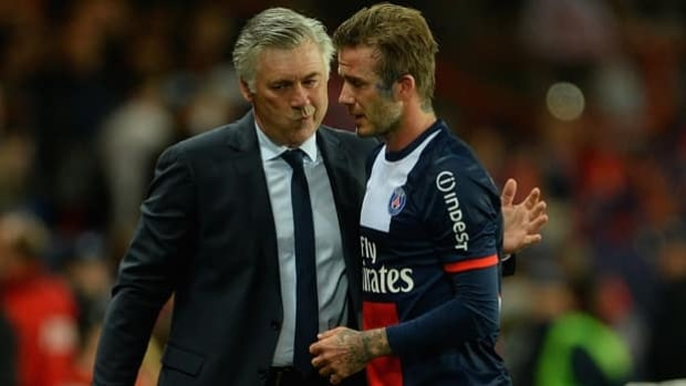 Carlo Ancelotti, left, coached David Beckham and Paris Saint-Germain to a Ligue 1 title in 2013.