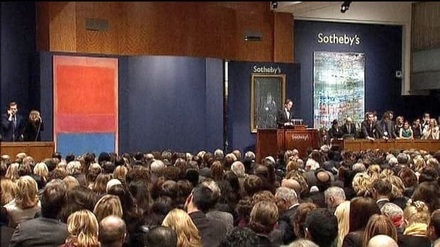 No. 1 (Royal Red and Blue), the large-scale work by Russian-American abstract expressionist Mark Rothko seen at left, was the highlight of the Sotheby's auction in New York on Tuesday. It sold for $75.12 million US.