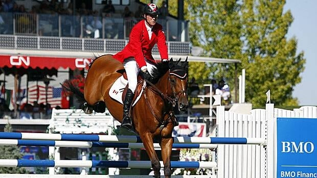 Legendary rider Ian Miller is seen aboard Star Power during the BMO Nations' Cup event at Spruce Meadows in Calgary in 2012. /BMO Bank of Montreal