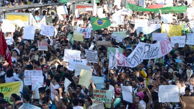 Demonstrators during a protest against corruption and price hikes in Salvador, Brazil on June 20, 2013.