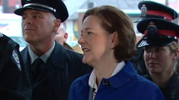 Progressive Conservative Leader Alison Redford promised firefighters in Edmonton Friday morning PTSD would be covered under Workers' Compensation Act.