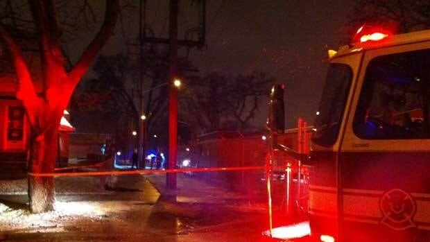Winnipeg police and emergency crews were at the 300 block of Alfred Avenue on Tuesday night.