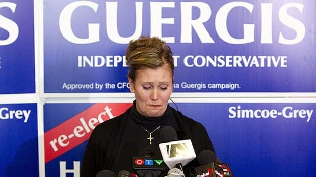 Former Conservative MP Helena Guergis, holds back emotions at a press conference in April, 2011, where she blamed Prime Minister Stephen Harper's office for orchestrating a smear campaign that ousted her from cabinet and caucus.
