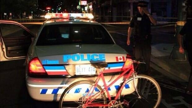 Police are searching for the driver of a silver Pontiac after a hit-and-run involving a cyclist near Spadina Avenue and College Street early Saturday.